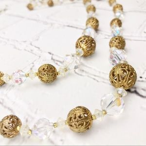 Vintage Crystal & Goldtone Filigree Orb Necklace